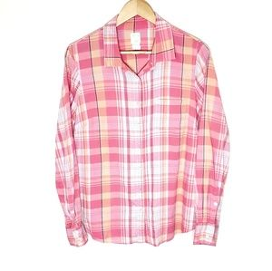 J. Crew The Perfect Shirt Pink Plaid Shirt Size 10